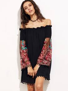 Embroidered Mesh Sleeve Pom Pom Trim Bardot Dress