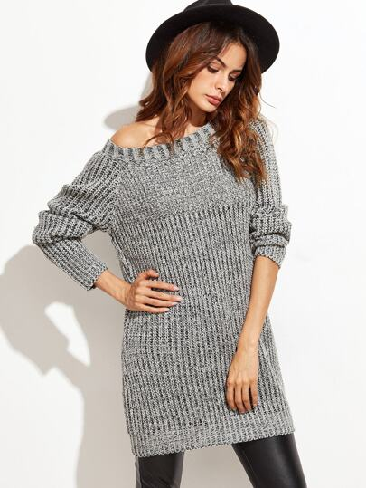 Grey Raglan Sleeve Chunky Knit Sweater