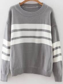 Grey Striped Ribbed Trim Drop Shoulder Sweater