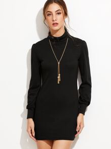 Black Turtleneck Knit Bodycon Dress