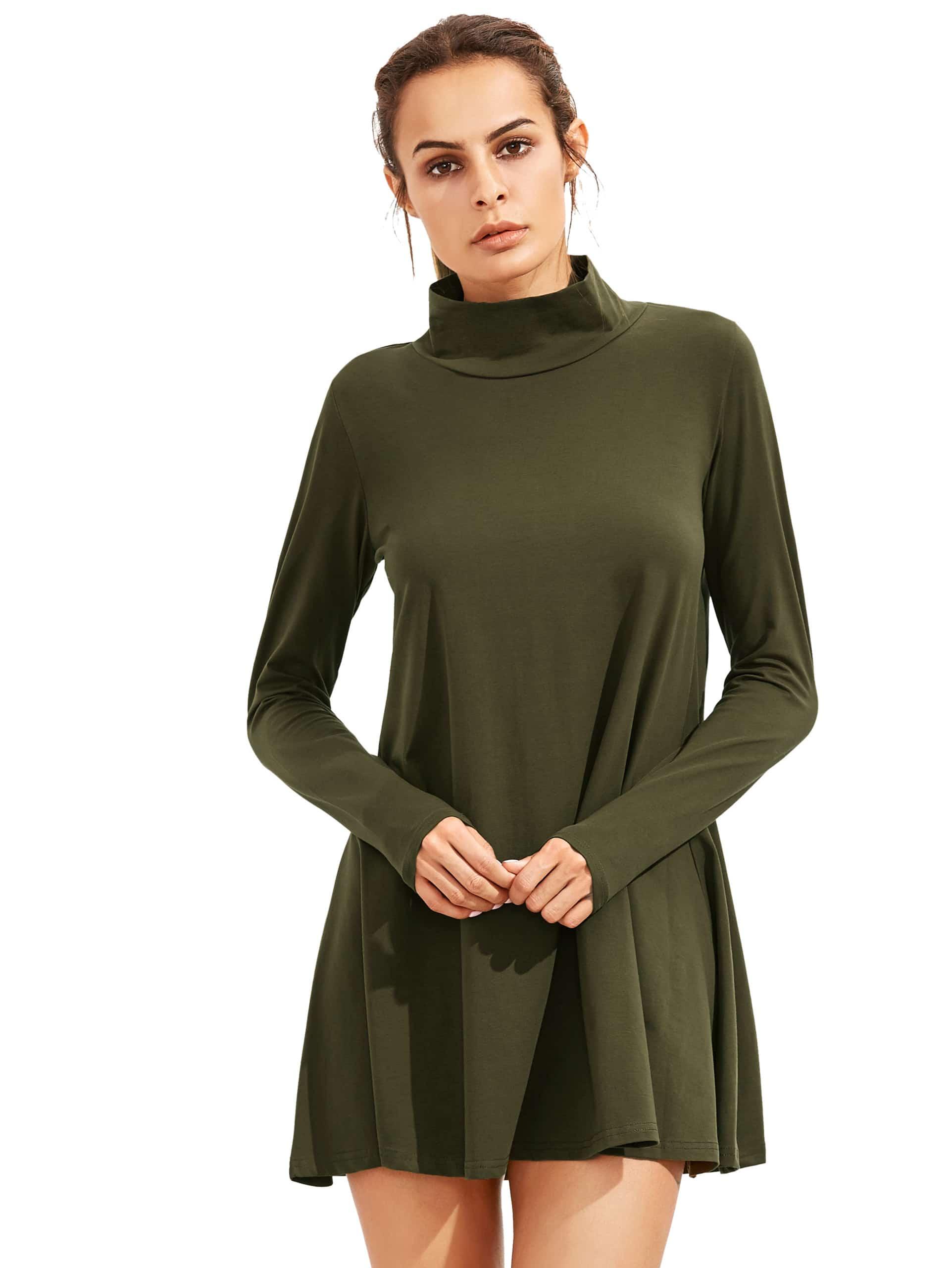 Фото Army Green Pullover Long Sleeve Casual Dress. Купить с доставкой