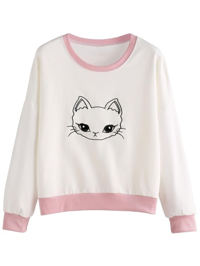 Contrast Trim Cat Embroidered Sweatshirt