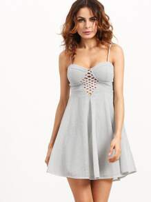 Silver Spaghetti Strap Zipper Back Party Dress