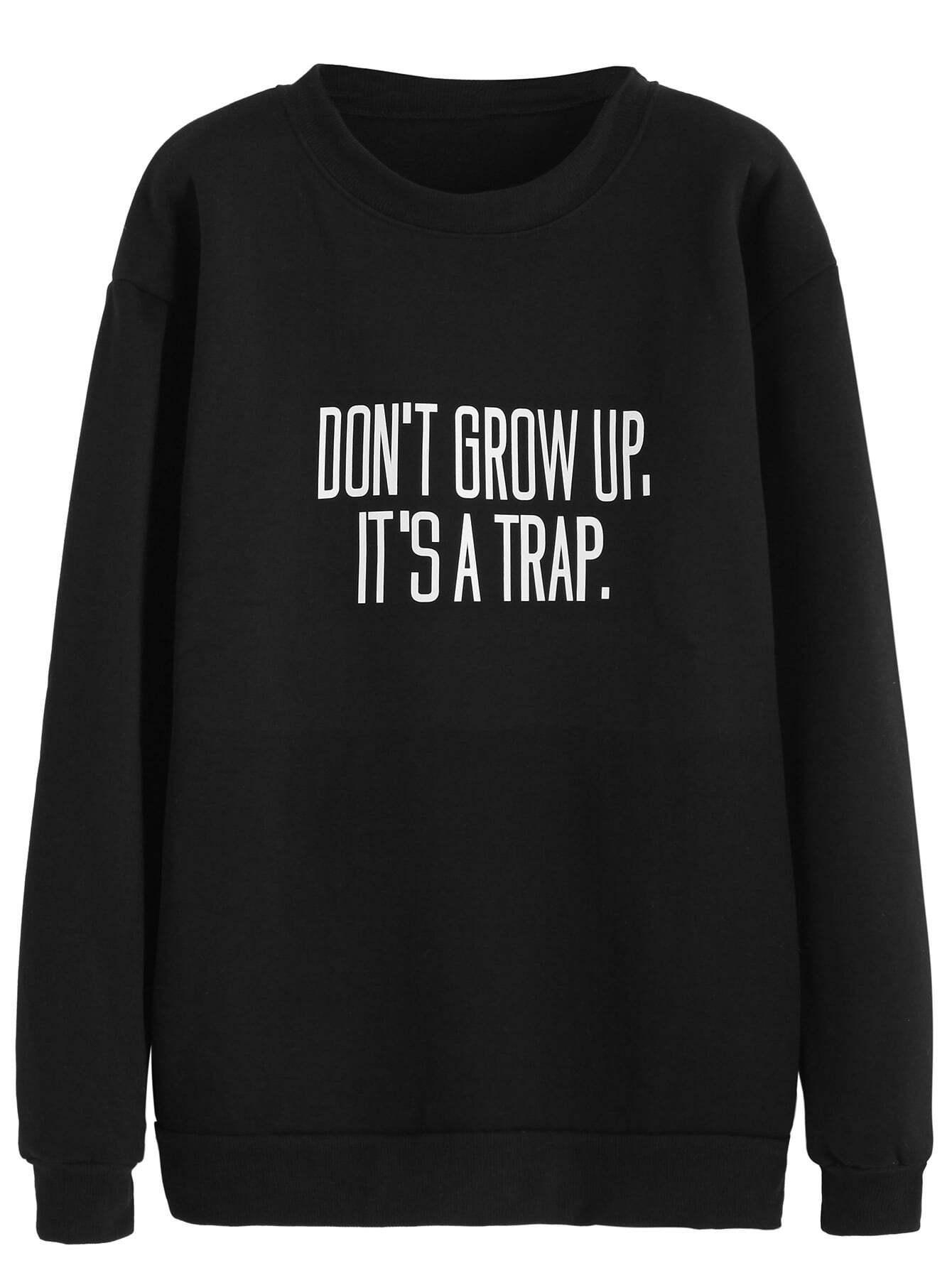 Black Slogan Print SweatshirtBlack Slogan Print Sweatshirt<br><br>color: Black<br>size: L,M,XL