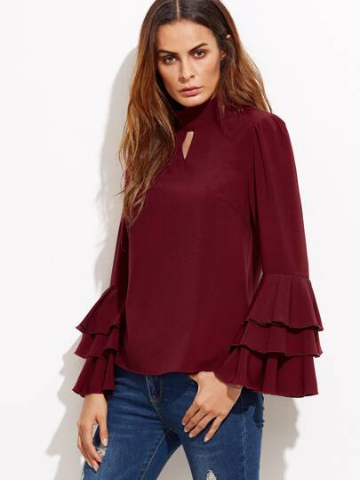 Keyhole High Neck Layered Bell Sleeve Blouse