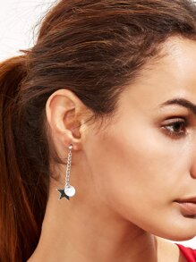 Metal Ball Star Asymmetrical Earrings