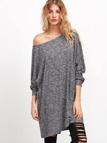 Grey Marled Knit Contrast Binding Tee Dress