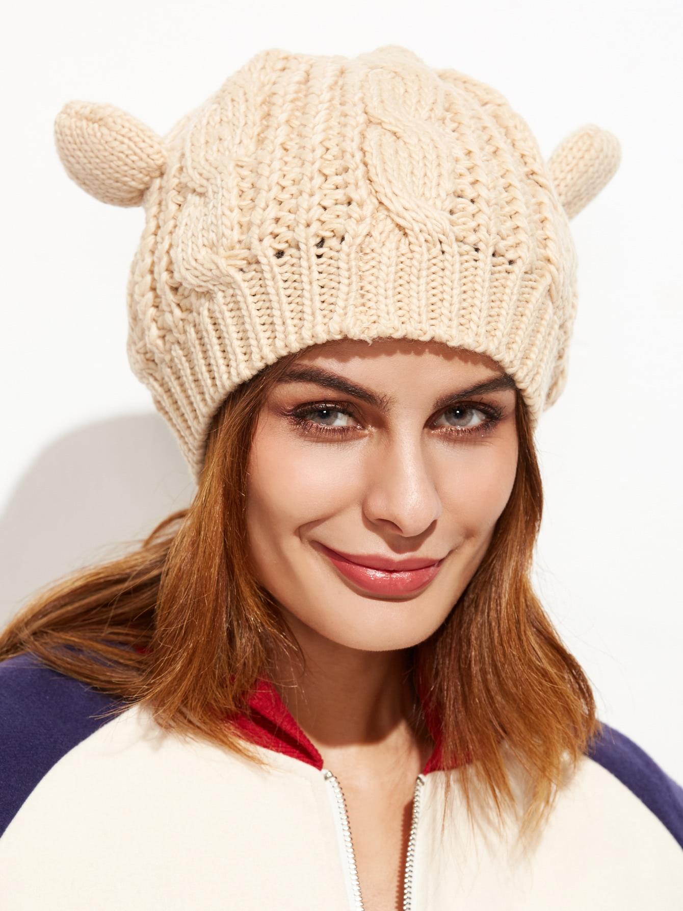 Фото Beige Cat Ear Knit Hat. Купить с доставкой