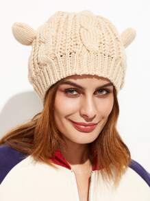 Beige Cat Ear Knit Hat