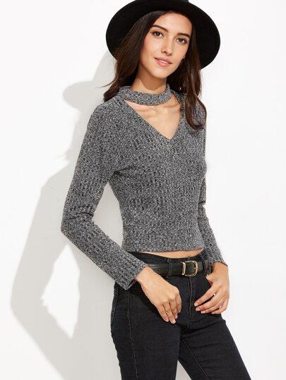 Grey Cut Out Zipper Back Sweater