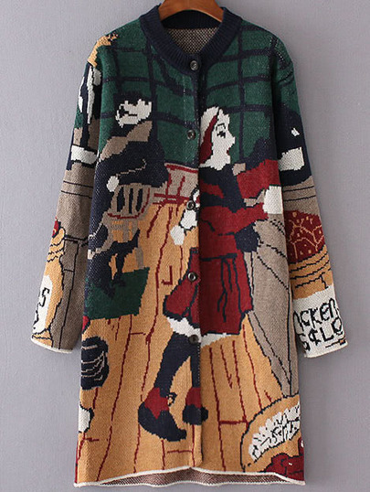 Multicolor Graphic Pattern Button Up Sweater Coat
