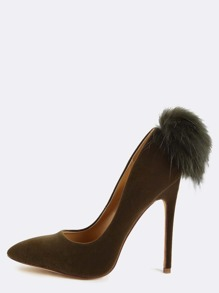Velvet Pointy Fur Ball Pumps OLIVE