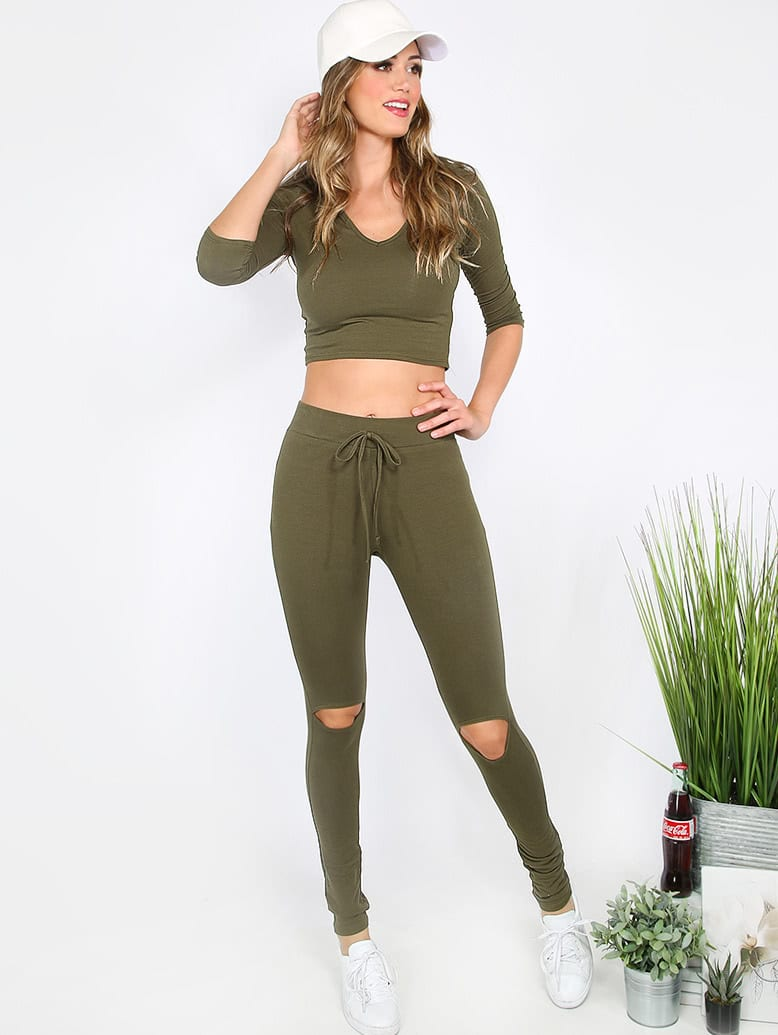 Army Green Long Sleeve Hooded T-shirt With Cutout Pants army green zip design v neck adjustable sleeve length t shirt