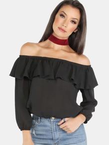 Open Shoulder Sleeved Ruffle Top BLACK