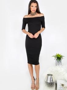 Black Off The Shoulder Half Sleeve Sheath Dress
