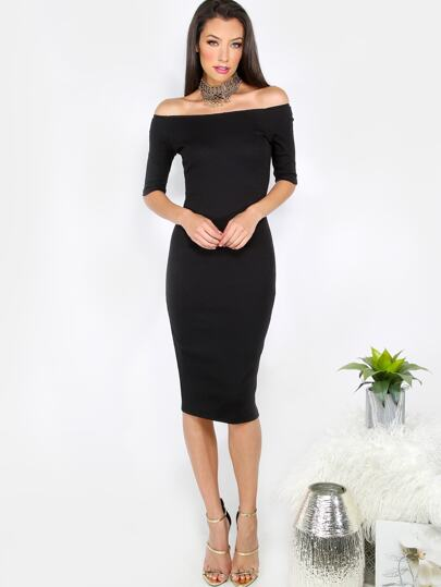 Black Off The Shoulder Half Sleeve Sheath Dress