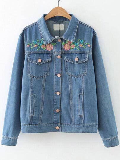 Blue Flower Embroidery Button Denim Jacket