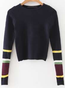 Color Block Sleeve Crop Sweater
