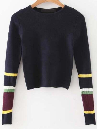 Color Block Sleeve Crop Sweater