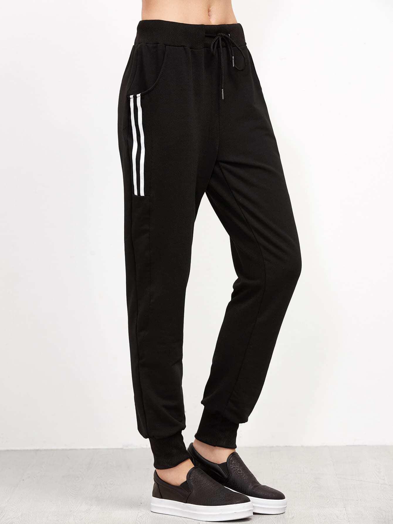Striped Side Drawstring Pants -SheIn(Sheinside)