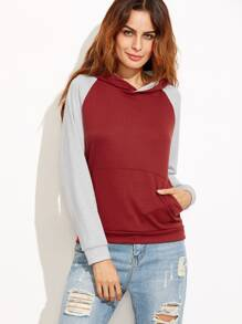 Burgundy Contrast Raglan Sleeve Hooded Sweatshirt