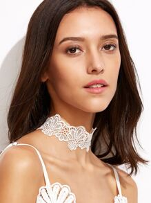 White Floral Lace Choker Necklace