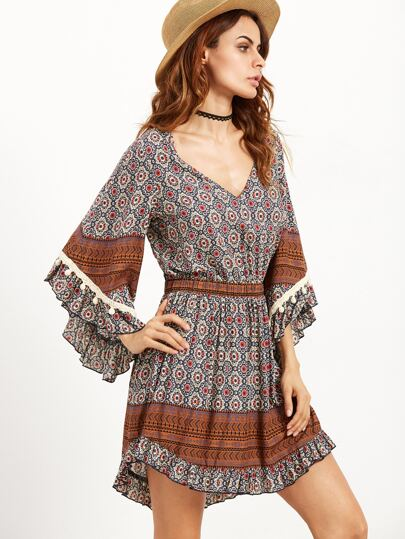 Brown Ornate Print Bell Sleeve Ruffle Dress