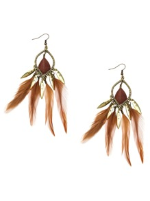 Antique Gold Feather Fringe Drop Earrings