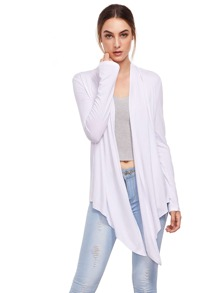 White Open Front Drape Cardigan Sweater