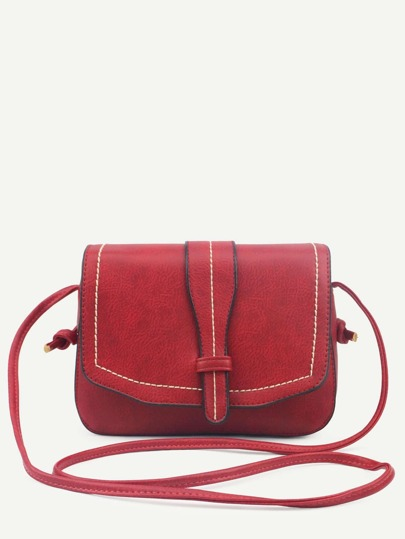 Red Faux Leather Saddle Bag