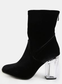 Almond Toe Velvet Clear Heel Boots BLACK