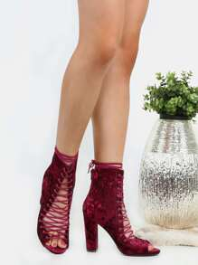 Velvet Lace Up Chunky Heel Booties BURGUNDY
