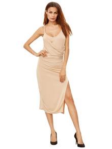Apricot Spagettic Strap Ruched Split Sheath Dress