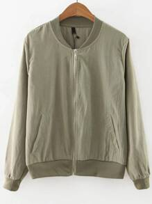 Army Green Zipper Up Bomber Jacket