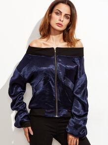 Contrast Trim Shirred Sleeve Jacket