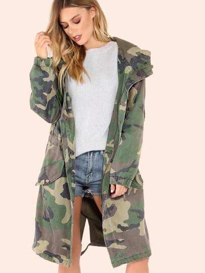 oversized camo utility jacket camouflage shein sheinside. Black Bedroom Furniture Sets. Home Design Ideas