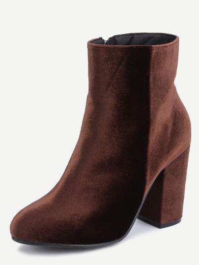 Coffee Velvet Chunky Heel Boots