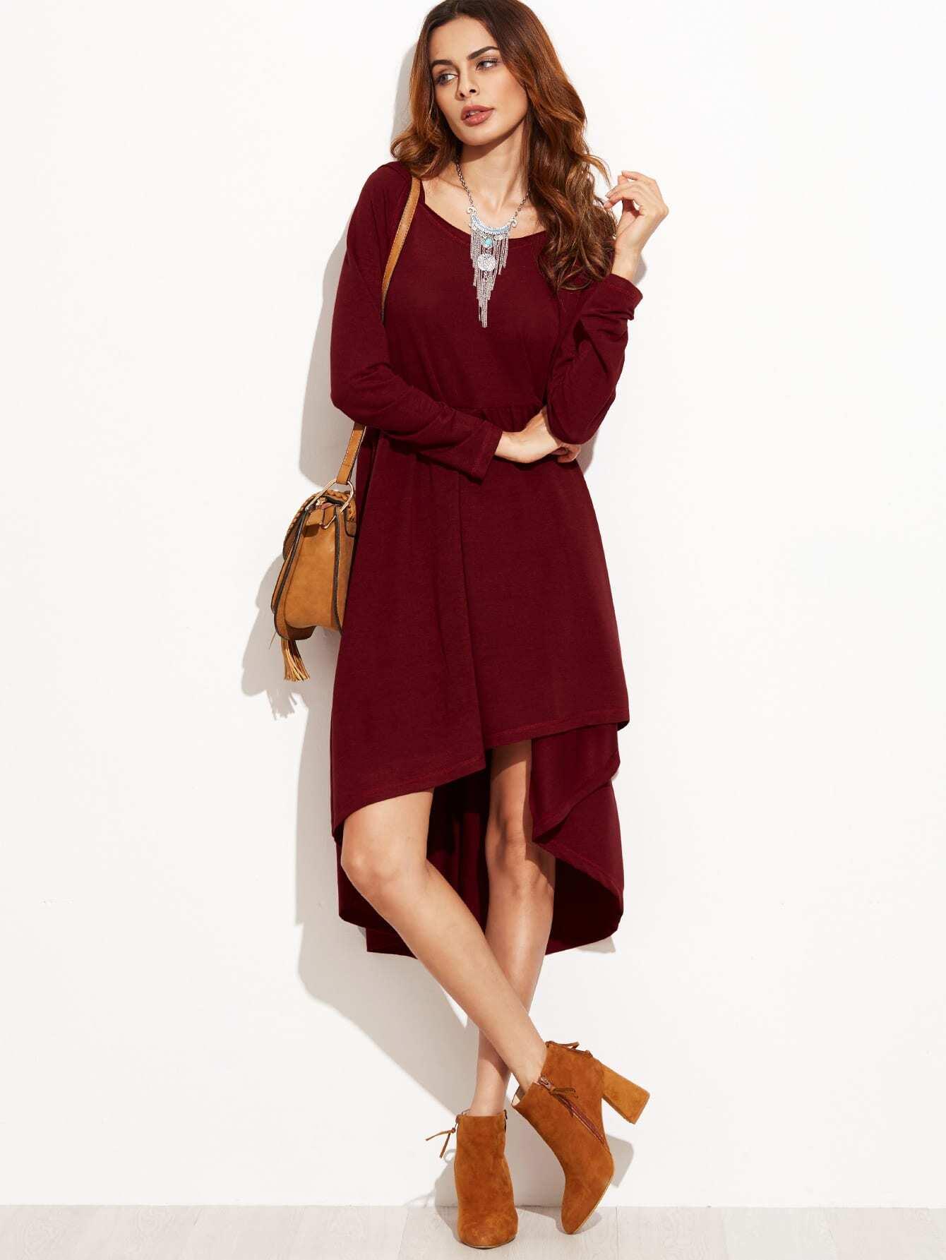 Фото Hooded High Low Babydoll Dress. Купить с доставкой