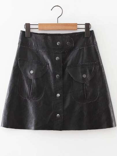 Jupe en cuir PU avec bouton et poche - noir