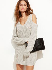 Grey Cold Shoulder Ripped Sweater Dress