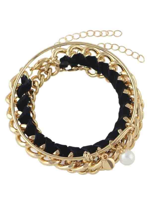 Фото New Design Gold Color Chain Bracelet Set. Купить с доставкой