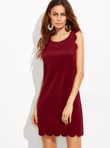 Burgundy Scallop Trim Tank Dress