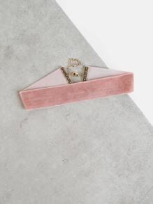 Mid-Size Velvet Choker Necklace PINK