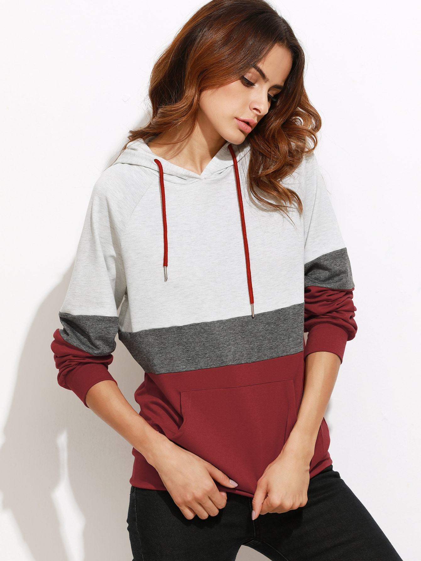 Color Block Raglan Sleeve Hoodie With Pocket color block raglan sleeve hoodie