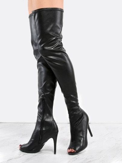 Peep Toe Leather Stiletto Thigh Boots BLACK