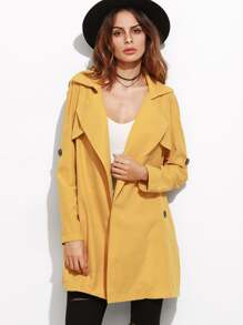 Yellow Roll Sleeve Split Back Duster Coat