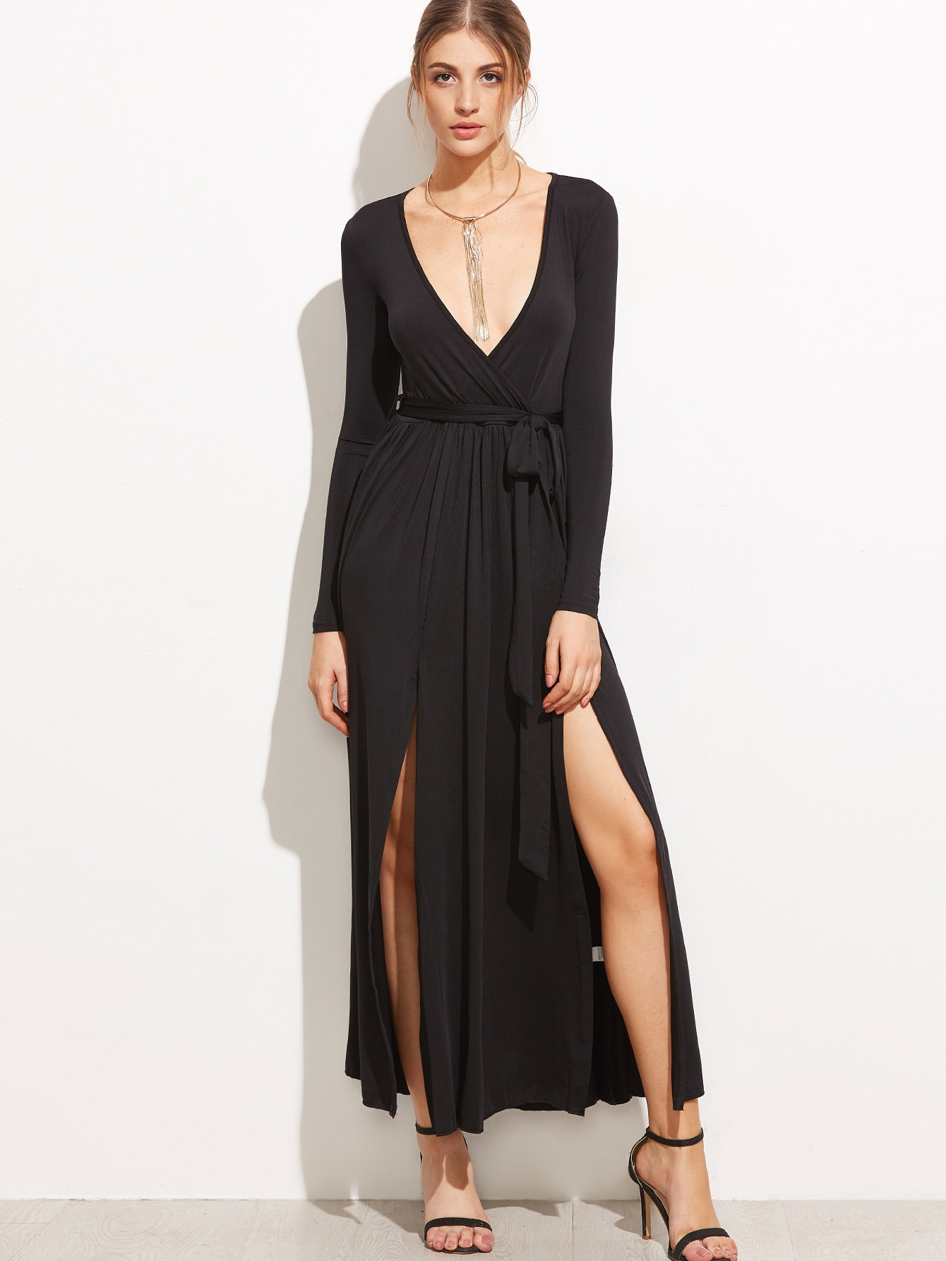 Black Slit Side Wrap Dress With Belt dress161005306