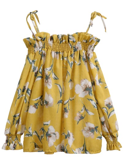 Yellow Cold Shoulder Florals Blouse