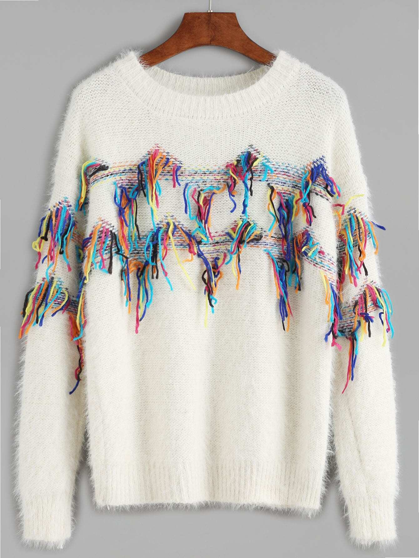 White Fringe Trim Fuzzy Sweater sweater160916003