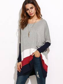 Color Block Oversized Longline T-shirt
